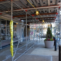 20th & JFK, finished look, overhead protection, Superior Scaffold, 215 743-2200