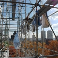 Independence Hall, pieces of the scrim, scaffold, scaffolding, Superior, 215 743-2200