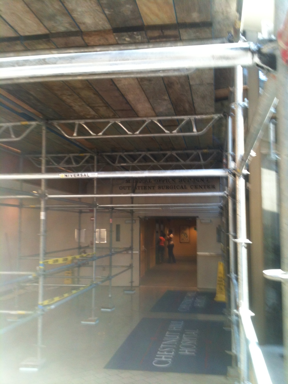 scaffolding walkway at chestnut hill hospital in