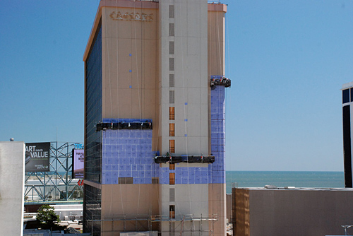 Caesars Palace, Atlantic City, NJ, Superior Scaffold, 215 743-2200, casino, suspended scaffold, swing, swing staging, rentals