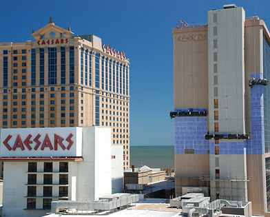 Caesars Palace, Atlantic City, NJ, Superior Scaffold, 215 743-2200, casino, suspended scaffold, swing, swing staging, rental