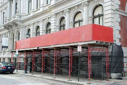 10th & Chestnut, overhead protection, frame, Superior Scaffold, 215 743-2200, rents