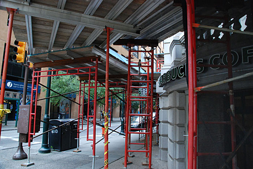 10th & Chestnut, top, overhead protection, Superior Scaffold, 215 743-2200, rent