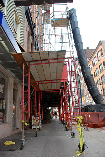 10th & Race, overhead protection, Superior Scaffold, 215 743-2200, rentals