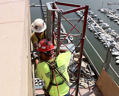 Golden Nugget Casino, Atlantic City, NJ, mounting mast climber, Superior Scaffold, 215 743-2200