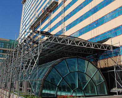 Golden Nugget Casino, Atlantic City, NJ, atrium, overhead protection, Superior Scaffold, 215 743-2200