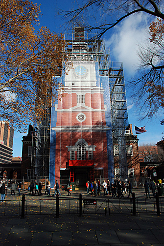Independence Hall, full front scrim, scaffold, scaffolding, Superior, 215 743-2200