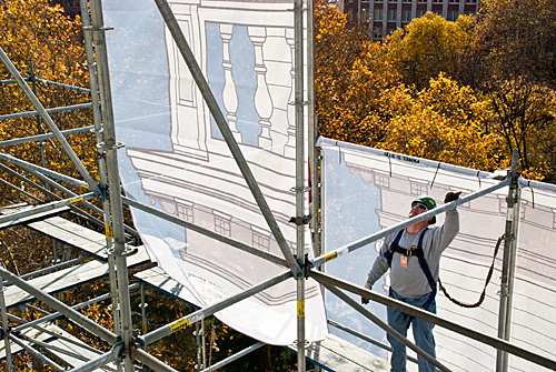 Independence Hall, supervising scrim installation, scaffold, scaffolding, Superior, 215 743-2200
