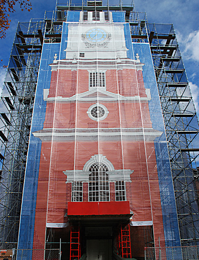 Independence Hall, front of tower, scaffold, scaffolding, Superior, 215 743-2200