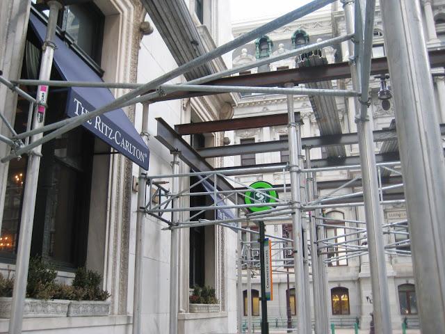 Ritz Carlton, aluminum canopy going up, Superior Scaffold, 215, 743-2200, scaffolding, PA, philadelphia