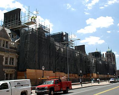 University of Pennsylvania, netting, quadrangle, scaffolding, Superior Scaffold, 215 743-2200