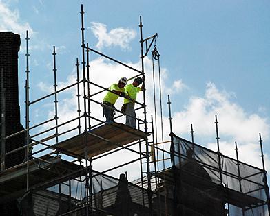 University of Pennsylvania, wheel, hoist, quadrangle, scaffolding, Superior Scaffold, 215 743-2200