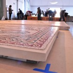 Tiles being assembled inside