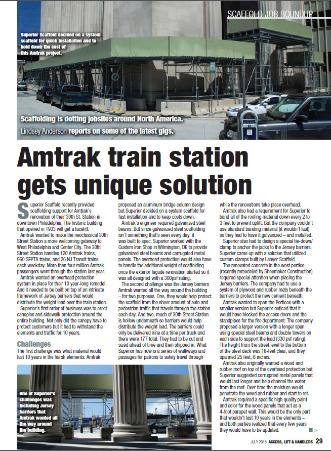 ALH Magazine Article, scaffolding, scaffold