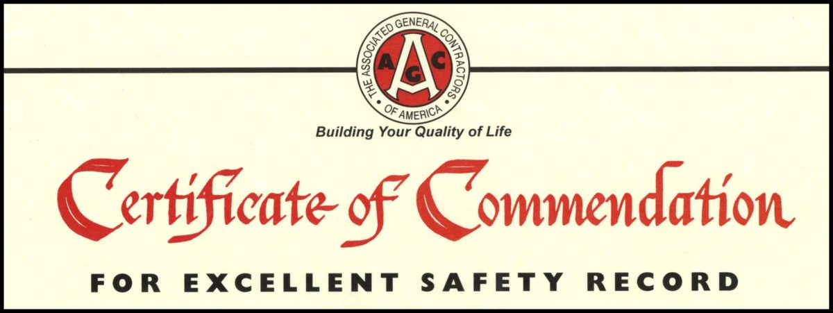 certificate of commendation, safety