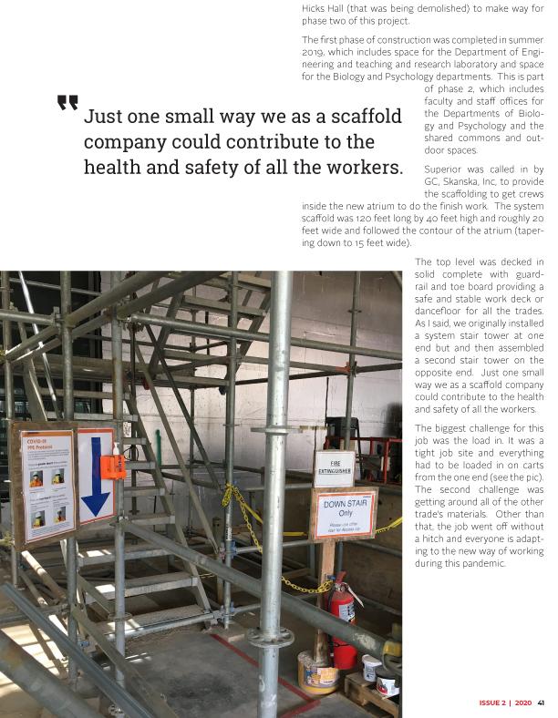 superior scaffold, scaffolding, scaffold, Swarthmore College, gbca, construction today magazine